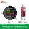 DC5.5 USB 3 0 type-C 18 в 1 USB Тестер Цифровой вольтметр постоянного тока зарядное устройство измеритель напряжения + PD3.0/2 0 протокол триггера