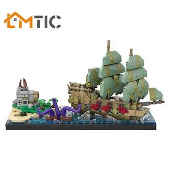 MOC Toten Mann der Brust Pirate Schiff Meer Serie Sammlung Modell 475 stücke Bausteine Diy Spielzeug Bricks Kreative Weihnachten geschenk Für Kinder
