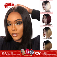 Brazilian Remy Hair Part Lace Wigs 130% Density Middle Part #1B #613 #1B/99J Short Human Hair Wigs Ali Queen Hair Lace Wig