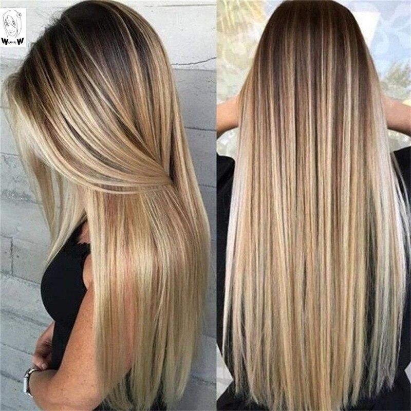 Peruca sintética do cabelo resistente ao calor da parte média natural das perucas pretas retas longas para as mulheres