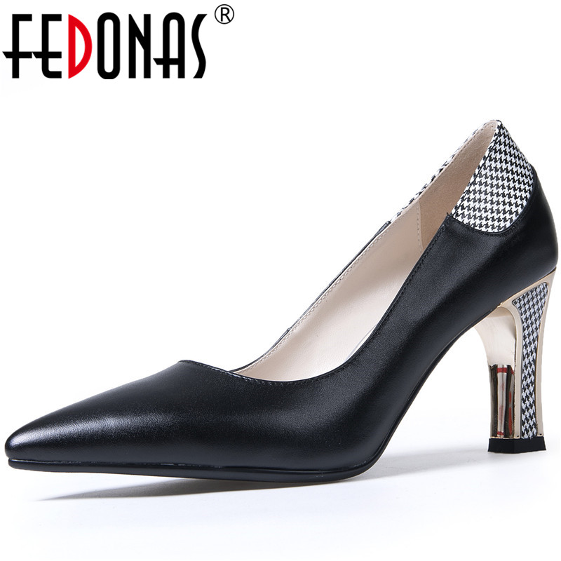 FEDONAS Women Wedding Prom High Heels Pumps Spring Summer Sexy Elegant Point Toe Shoes Genuine Leather Classic New Shoes Woman