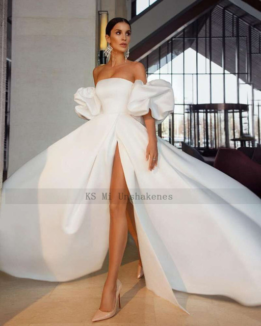 White Satin Sexy Wedding Dresses 2021 Puff Sleeve Split Side Bride Dress Strapless A Line Wedding Gowns Women Couture Mariage 3
