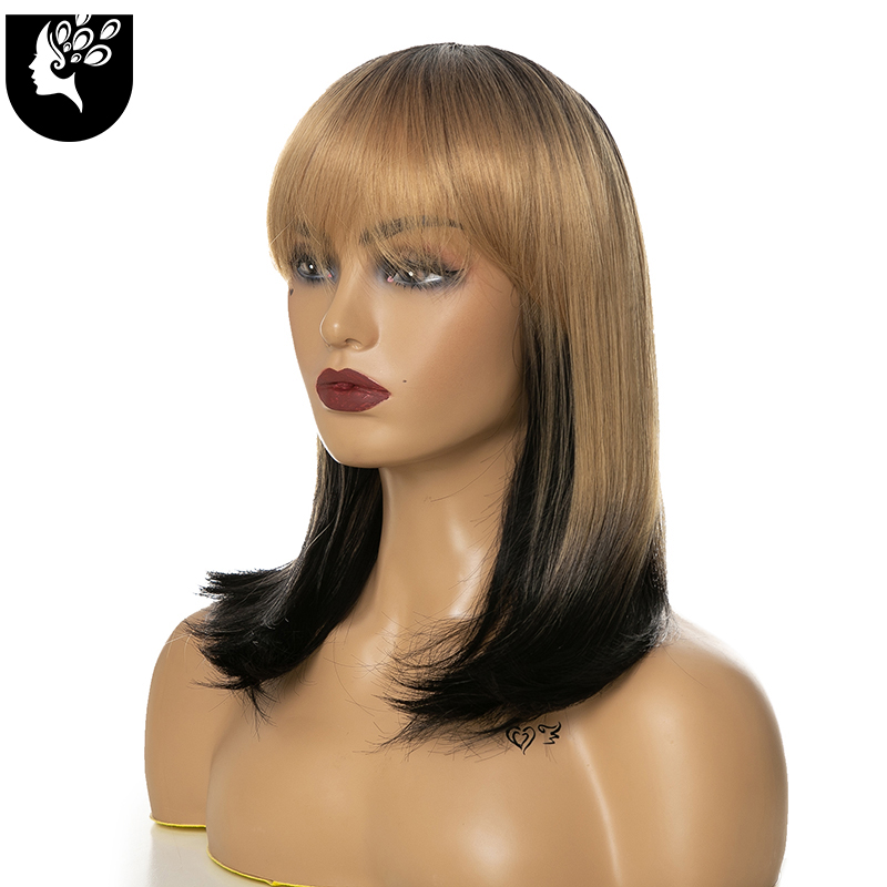 Your BeautyShort Wavy Wigs for Black Women African American Synthetic Ombre Color Bob Wigs with Bangs Heat Resistant Cosplay Wig
