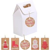 50Pcs Christmas Socks Tag Gift Box DIY Kraft Paper Candy Cookies Gift Boxes Christmas New Year Party Biscuits Handbag Box Decor