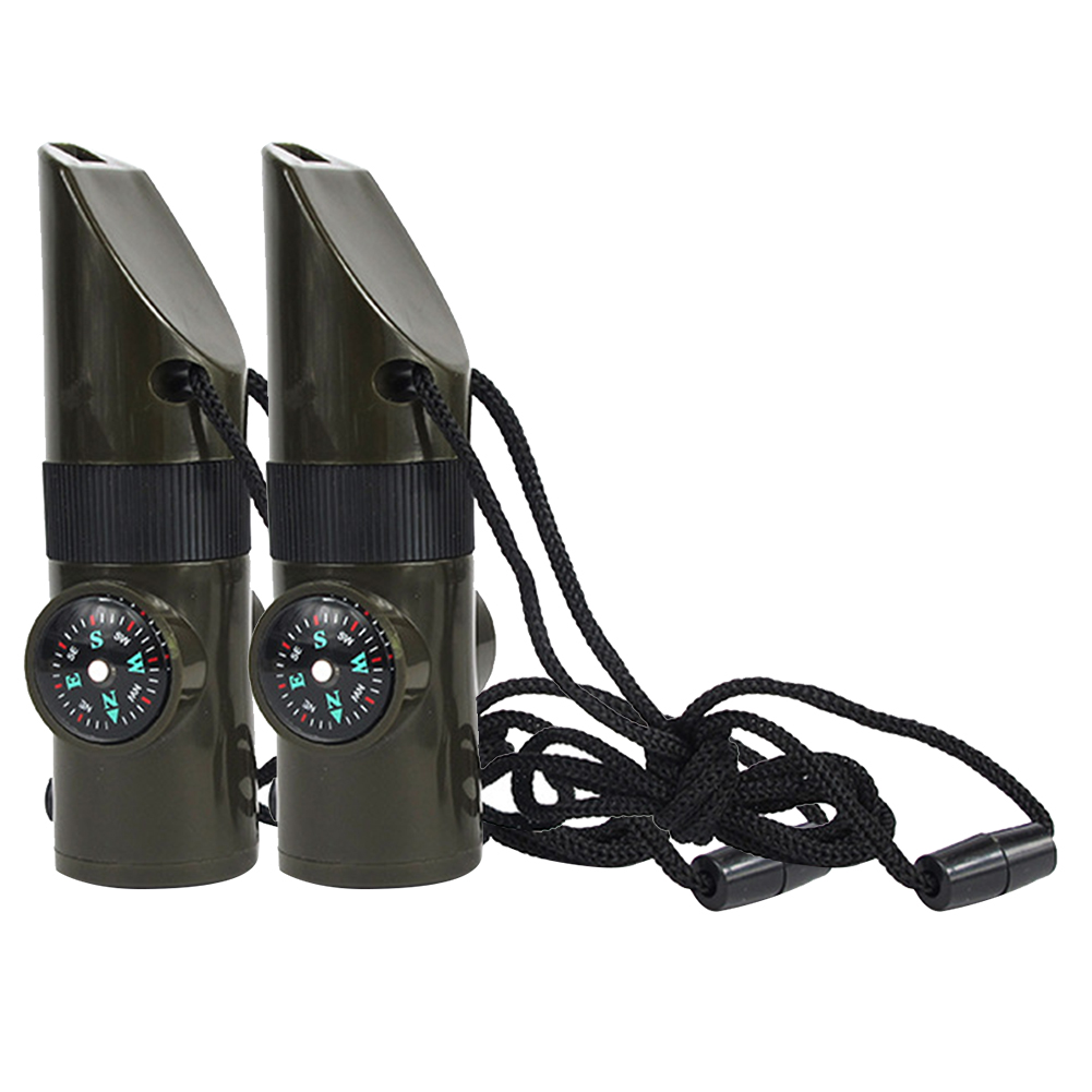 2Pcs 7 In 1 Anti Lost Camping ABS Led Multifunctional Waterproof Emergency Tool Outdoor Hiking Reflector Survival Whistle