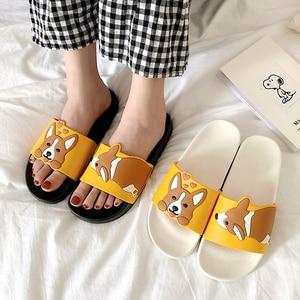 Women Summer Slippers Slide Sandals Beach Flip Flops Cartoon Dog Corgi Comfortable Thick Sole Girls Flat Shoes Zapatillas Mujer
