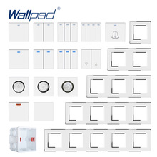 Acrylic-Panel Wallpad Wall-Light Switch-Function White with Silver Border Key-Only DIY