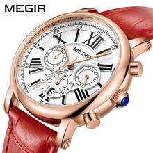 MEGIR Mode Vrouwen Horloges Top Brand Luxe Dames Quartz Horloge Chronograaf 24 uur Datum Klok Relogio Feminino Sport Horloge