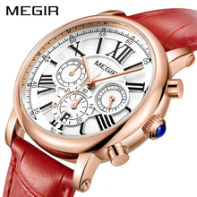 MEGIR אופנה נשים שעונים למעלה מותג יוקרה גבירותיי קוורץ שעון הכרונוגרף 24 שעות תאריך שעון Relogio Feminino ספורט שעון