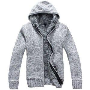 Image 2 - Manteau en pull épais pour hommes, vêtement dextérieur en laine polaire, col en cachemire, collection pull avec fermeture à glissière, automne et hiver