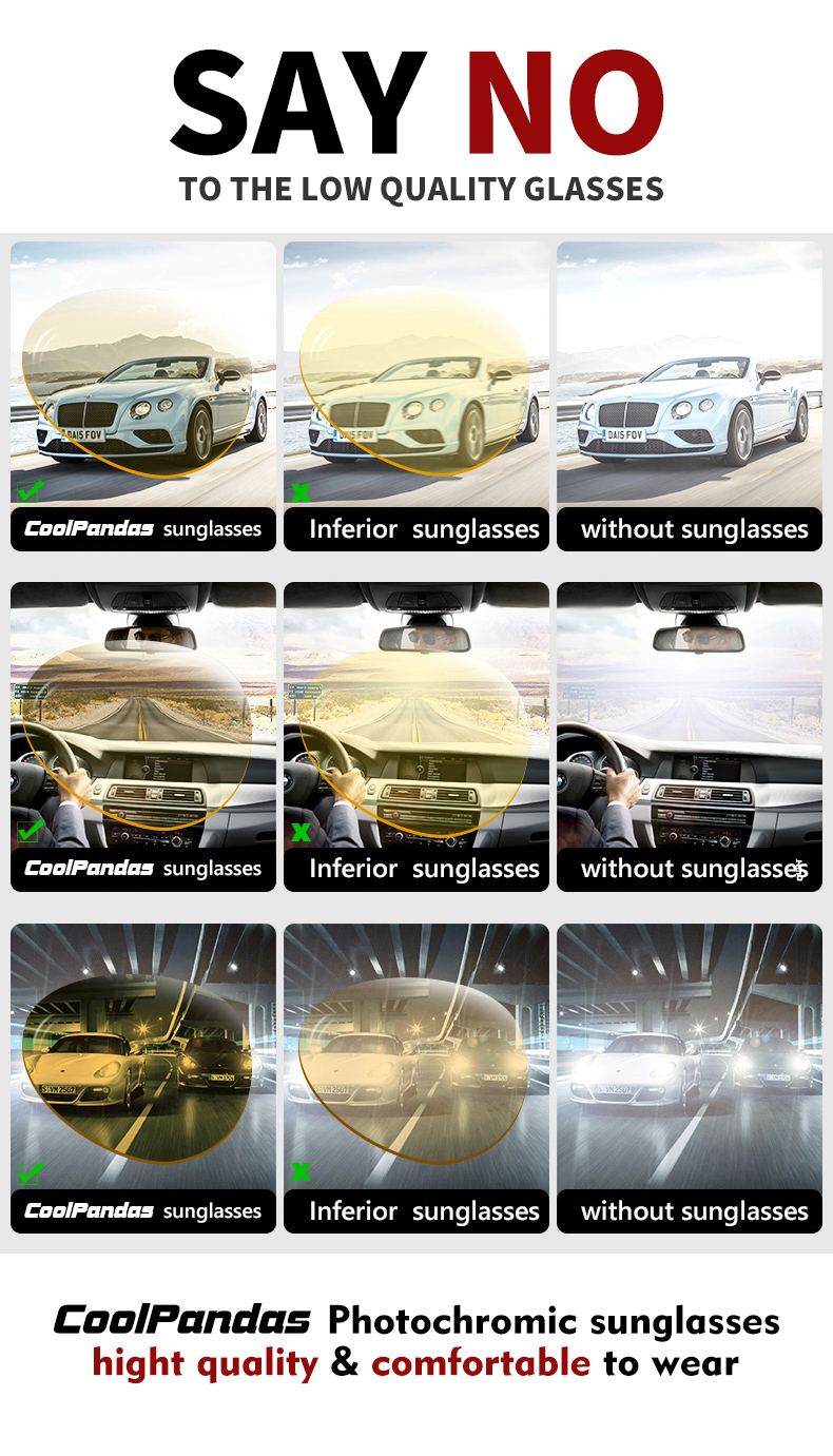 Hfe044e2293f8449e87af95f1104de1561 2020 Aviation Driving Photo chromic Sunglasses Men Polarized Eyewear Glasses Women Day Night Vision