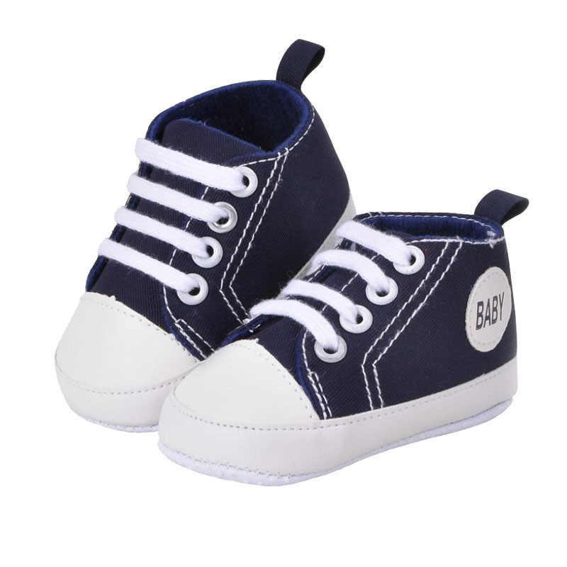 ผ้าใบใหม่ทารกแรกเกิดเด็กทารกรองเท้านุ่ม Soled รองเท้า 0-18 เดือนเด็กรองเท้าผ้าใบ First Walkers