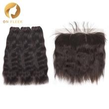 On Fleek Необработанные индийские девственные волосы, пряди с фронтальной частью, натуральные прямые волосы, пряди с фронтальной накладкой