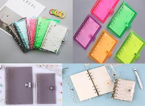 Qaper core A5 A6 A7 loose-leaf PVC rainbow laser transparent notebook diary cover flash notepad plan folder office supplies
