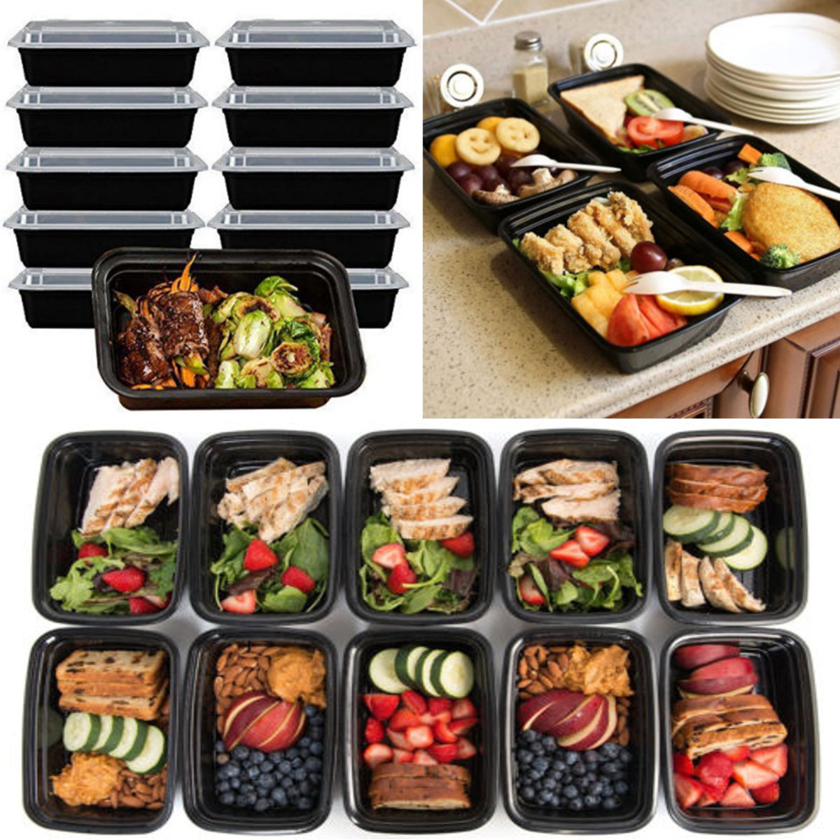 10 Pcs Microwavable Food Meal Storage Containers Reusable Lunch Boxes Bento Box Eco-friendly Picnic Food Storage Container 450ml