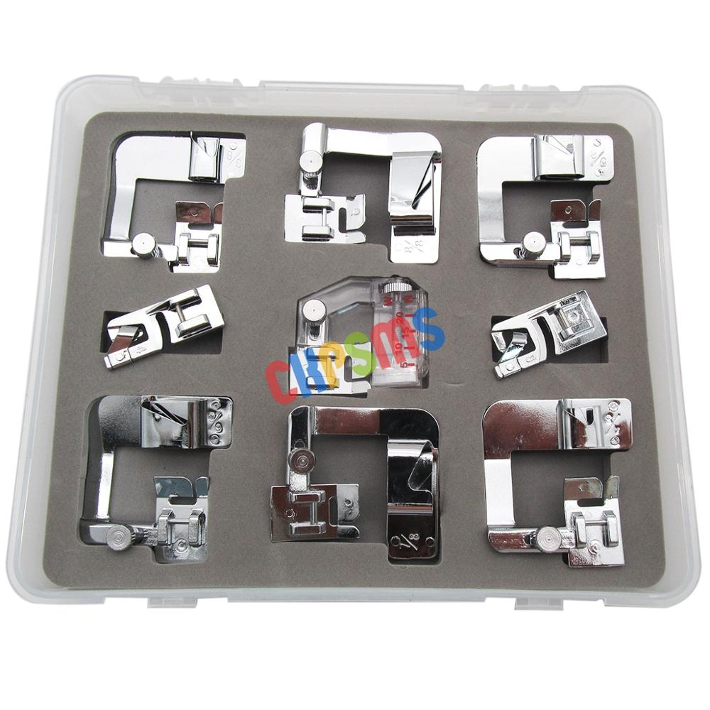 #KP-19050 9PCS Different Size Hemmer Foot FIT FOR Sewing Machine Brother Singer Janome Elna Kenmore