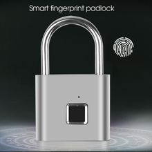 Akıllı parmak izi asma kilit USB şarj edilebilir IP65 su geçirmez elektrik biyometrik taşınabilir kapı kilidi ev kapı çanta valiz kilidi