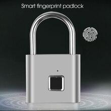 Candado de huella dactilar inteligente, candado recargable por USB IP65, impermeable, eléctrico, biométrico, portátil, para puerta de casa, bolsa de equipaje, cerradura