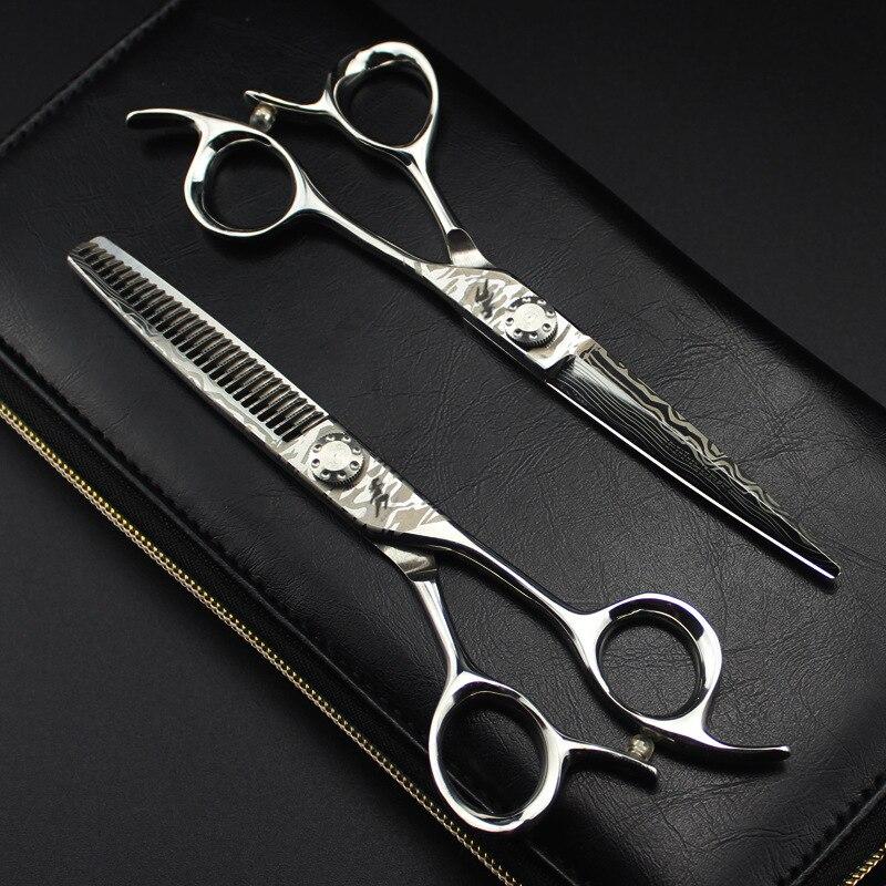 6 Inch Damascus Steel 440C Professional Salon Hairdressing Scissors Cutting Thinning Hair Scissors Hairstylist Barber Scissors