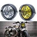 Фара для мотоцикла  черная металлическая сетка  35 Вт  галогеновая передняя фара для девушек  подходит для CG125 GN125  для Harley Cafe Racer Honda