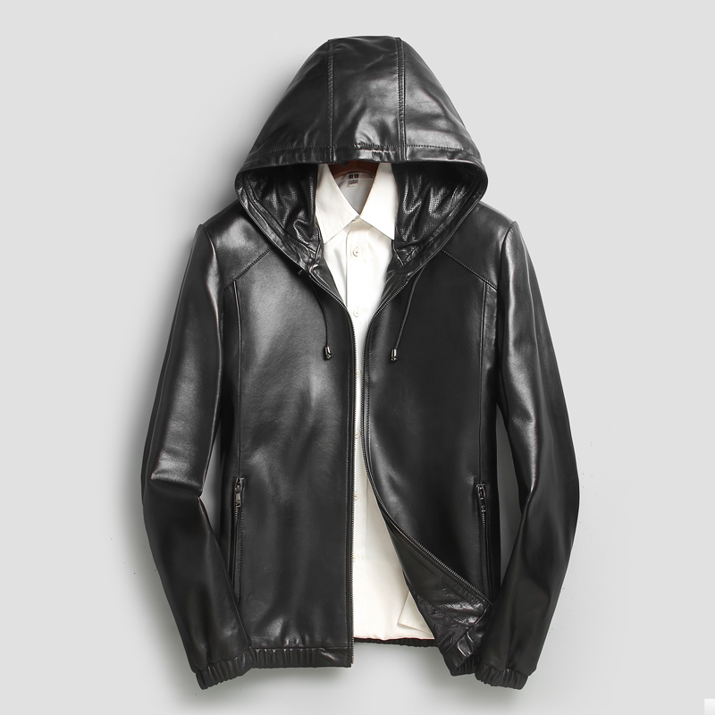 DeCuero Mens Genuine Sheep Skin Leather Jacket-Black