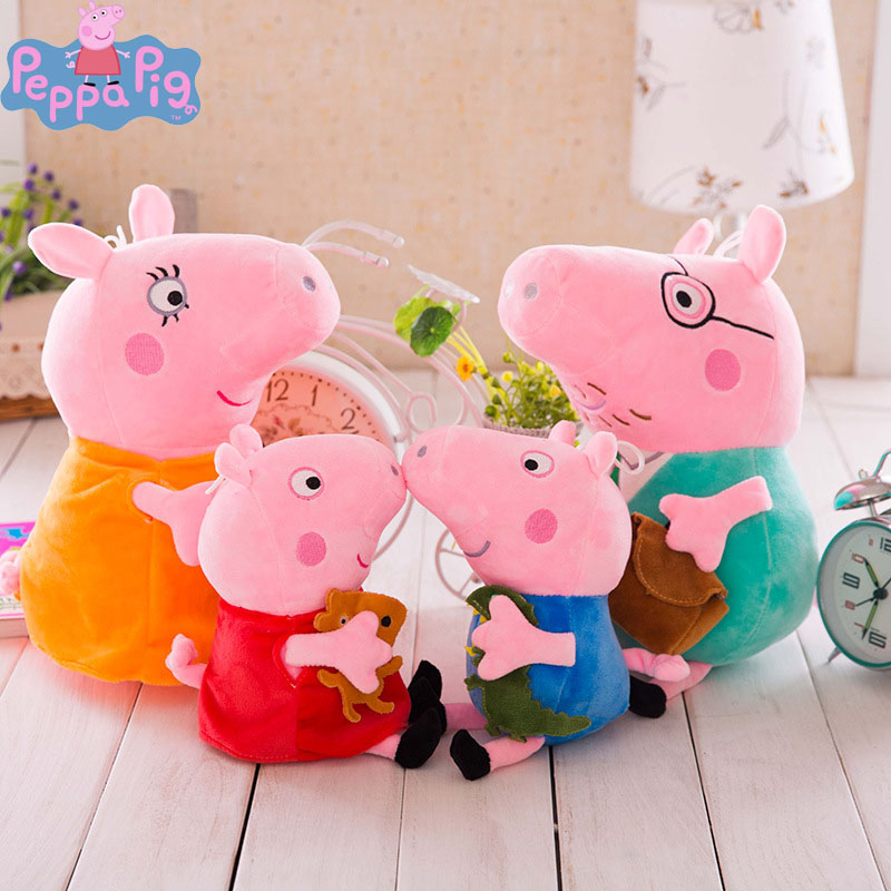 19CM Peppa Pig Plush Toys Family George with Keychain Original Anime Figure Stuffed Animal Doll Toys for Children Christmas Gift image