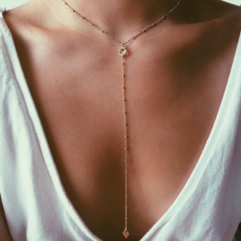 Tassel Necklace Ladies Necklaces Chain Women Beads Geometric Pendant Girls Jewelry Silver Color Classic Elegant Alloy Halskette
