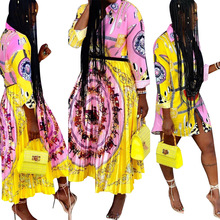 New 2019, fashionable European and American style, personalized artistic printing pattern, casual shirt skirt,