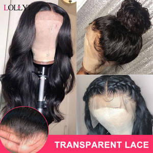 Wig Human-Hair-Wigs Lolly Lace-Front Body-Wave Transparent Pre-Plucked Remy Black-Women