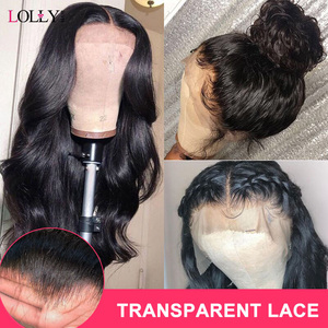 Lolly Body Wave Wig 13x4 Malaysian HD Transparent Lace Front Human Hair Wigs Pre Plucked Remy Human Hair Wigs For Black Women(China)