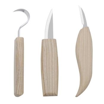 3 unids/set cuchillo conjunto grabado en madera DIY cincel de mano de madera herramientas de tallado madera cortador de cuchillo en trabajar la madera Kit de herramientas