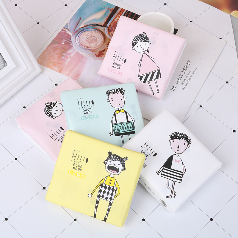 60Pcs/Pack Random Portable Sanitary Paper 3 Ply Disposable Facial Paper Tissues Thickened Cute Colorful Cartoon Printing Napkins
