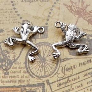 10 części/partia 19.5*18mm antyczne srebro kolorowy ze stopu żaba naszyjnik charms bransoletka z wisiorkiem brelok ręcznie robiona biżuteria DIY tworzenia
