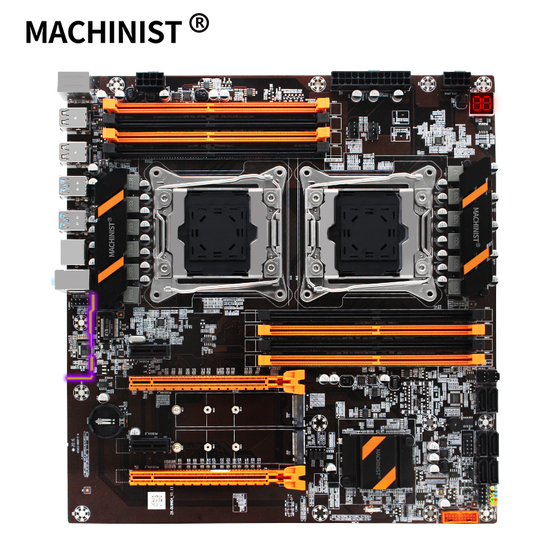 MACHINIST X99 dual CPU motherboard LGA 2011 v3 E-ATX USB3.0 SATA3 with dual Xeon processor with dual M.2 slot desktop mainboard image
