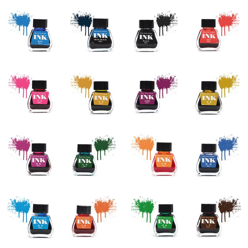 30ml Glass Smooth Writing Fountain Pen Ink Refill School Student Stationery Office Supplies 16 Colors