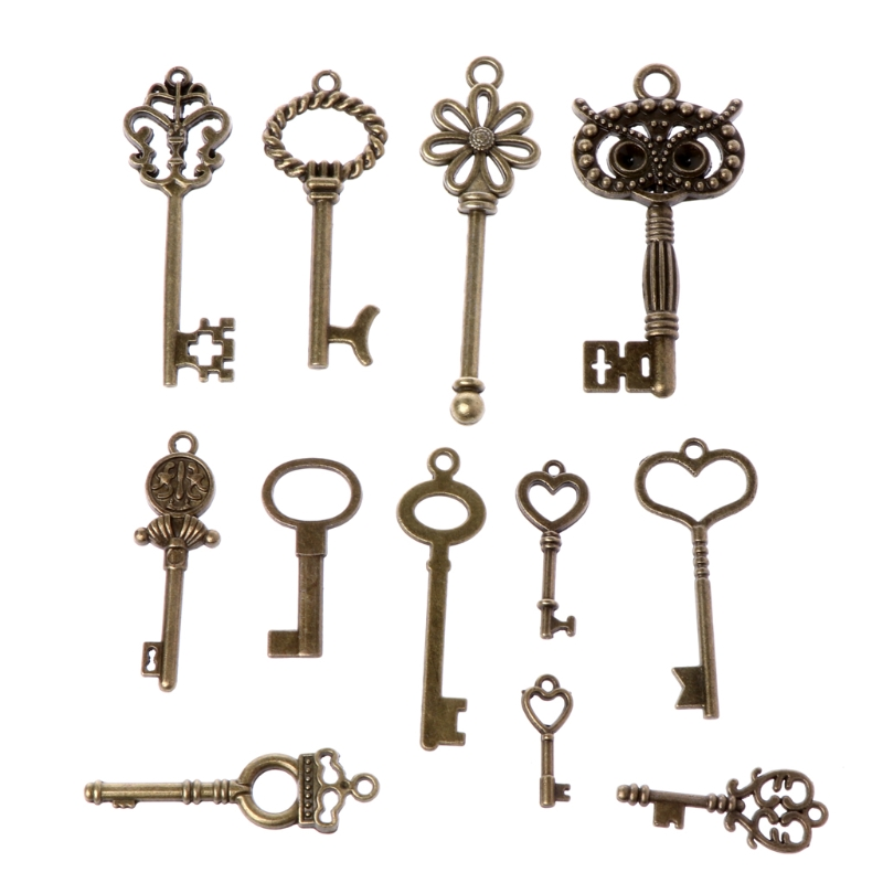 69pcs Set Antique Old Look Bronze Skeleton Keys Fancy Heart Bow Pendant Jewelery