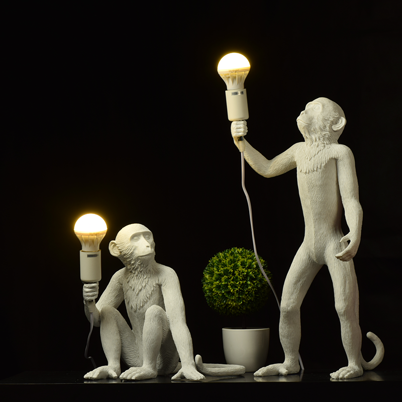 Nordic Resin Monkey Lamp Led Pendant Light Lighting Living Room Restaurant Bedroom Luminaire Kitchen Fixtures Suspension 7 Color