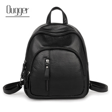 Ougger Women Backpack PU Solid Multifunction Cute Small Backpacks For Teenage Girls Female Black Mini School Shoulder Bag free shipping real photo 2017 mini pu mini backpack cheap women backpacks black bb108