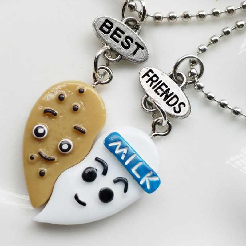 2pcs Best Friends Chocolate Milk Biscuits Pendant Necklaces BFF Friendship Creative Jewelry Christmas Gift