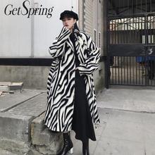 Abrigo de lana para mujer Getspring con patrón de cebra a rayas abrigo de lana de invierno para mujer Vintage Color a juego vendaje para mujer abrigo 2019 nuevo