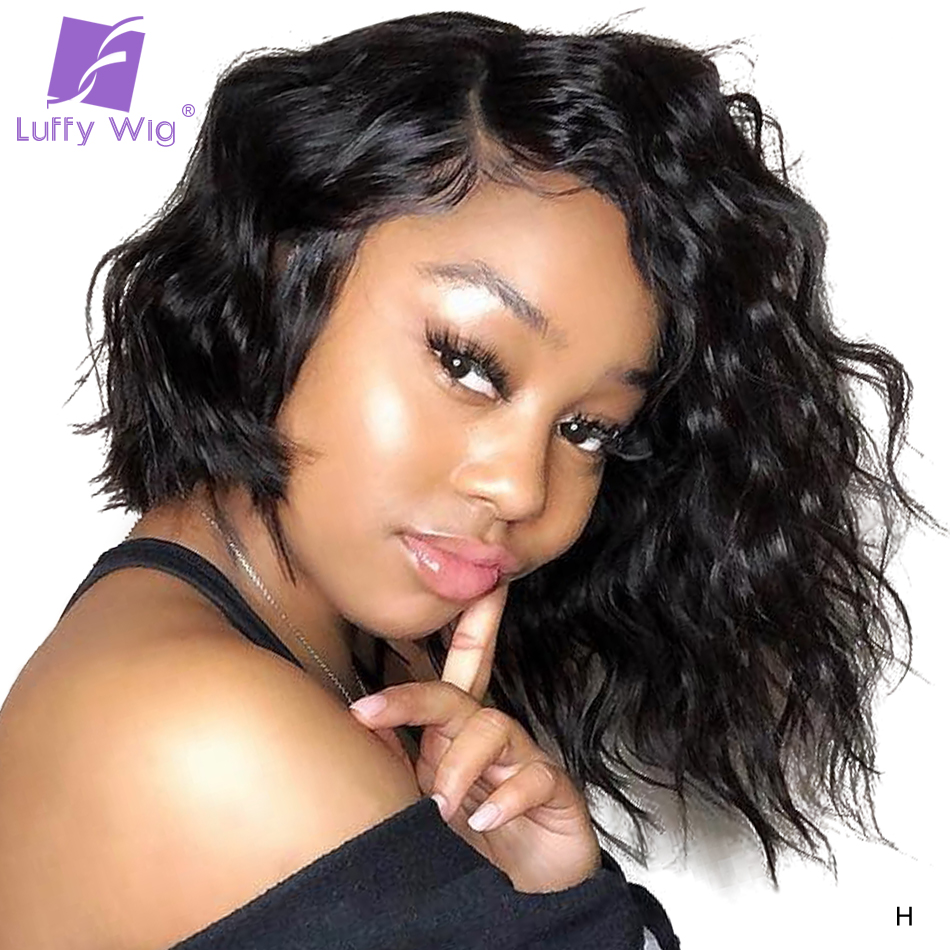 13x6 Short Bob Lace Front Wigs Fake Scalp 180 Density Loose Deep Wave Remy Brazilian Glueless Human Hair Wigs Pre Plucked LUFFY