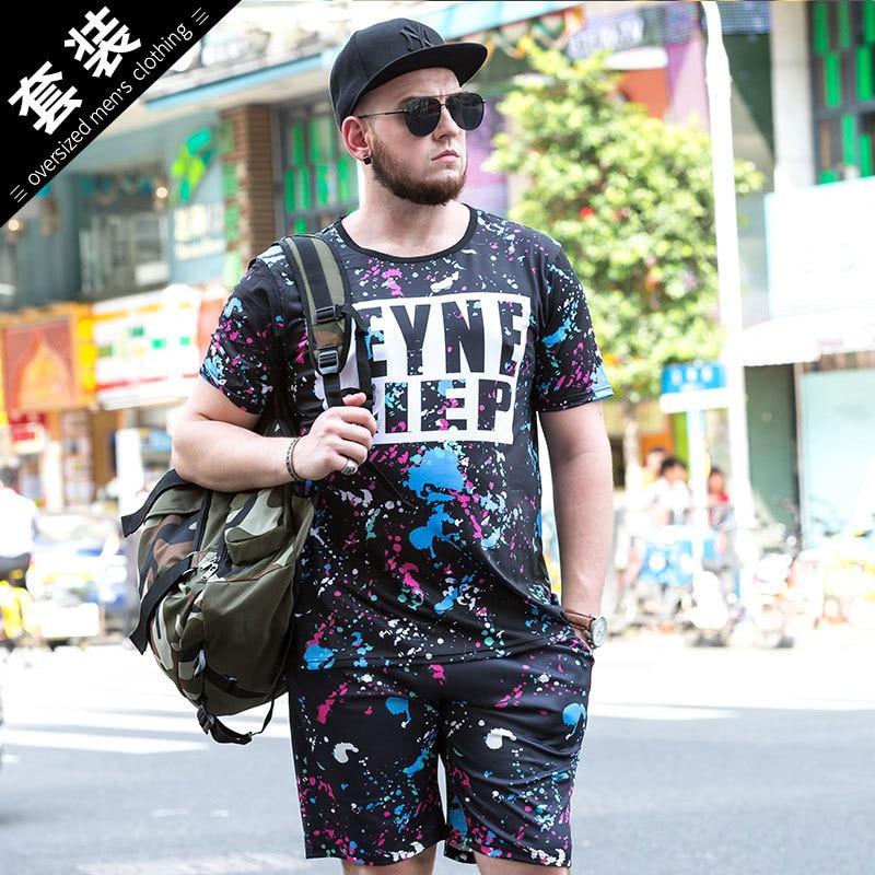 Men Trend Casual Summer T-shirt MEN'S Short Sleeve Quick-Dry Set Men's Loose-Fit Plus-sized Fat Men'S Wear