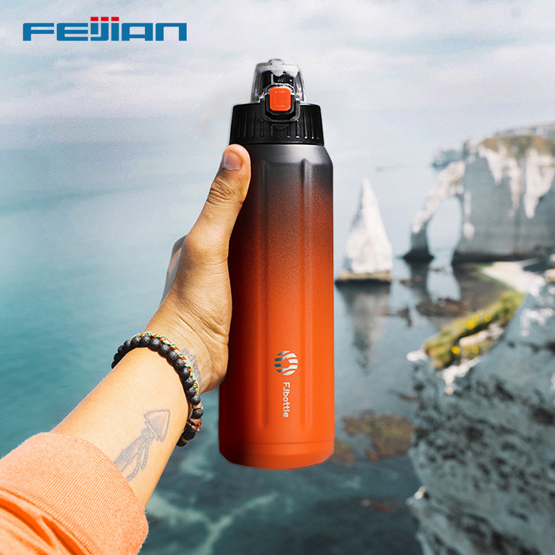 FEIJIAN Double Wall Thermos, Sports Bottle, 600ml, 18/10 Stainless Steel, Vacuum Flask, Insulated Tumbler, Leak Proof ,Customize