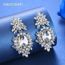 Mecresh Korean Silver Color Big Wedding Drop Earrings for Bride Cute Rhinestone Flower Female Fashion Jewelry MEH1080