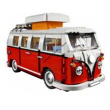 Série técnica volkswagen t1 camper carro van vw modelo de carro blocos de construção compatível 10220 diy tijolos brinquedos para o presente natal