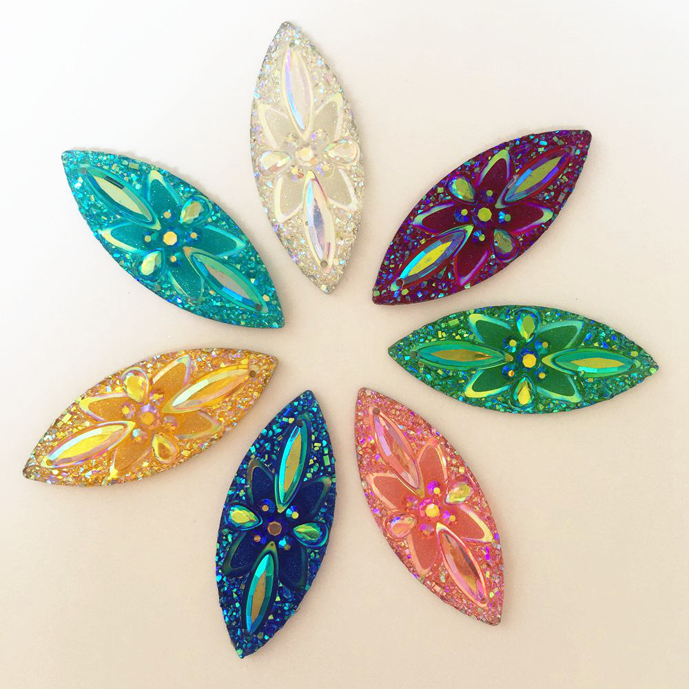 DIY 18pcs 25mm AB Resin flower FlatBack rhinestone wedding Embellishment 2 hole