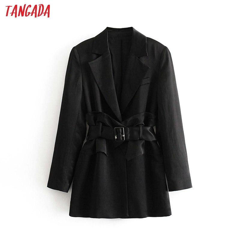 Tangada Fashion Black Blazer For Female Korea Chic Autumn Winter Long Sleeve Suit Blazer With Belt Elegant Ladies Work Tops 3H86
