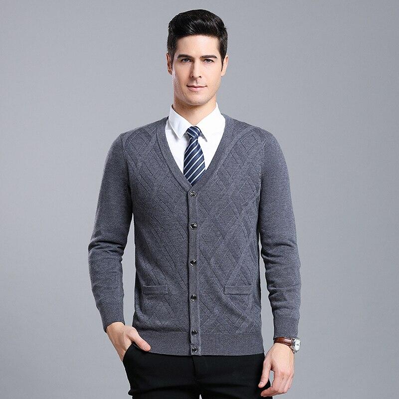 MACROSEA Autumn&Winter Men's Long Sleeve Knitting Sweaters Male Solid Argyle Sweater Men's Formal Casual Sweatercoat 9083