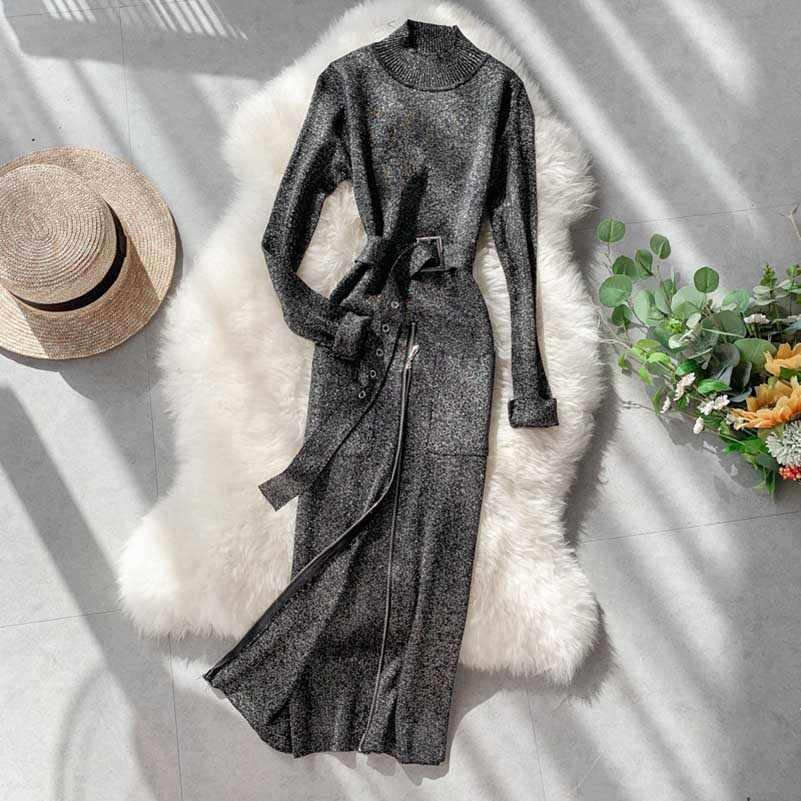 NiceMix Chic seda brillante tejido de punto vestido largo con cremallera abertura medio cuello alto manga larga Sexy paquete Hip suéter vestido cinturón