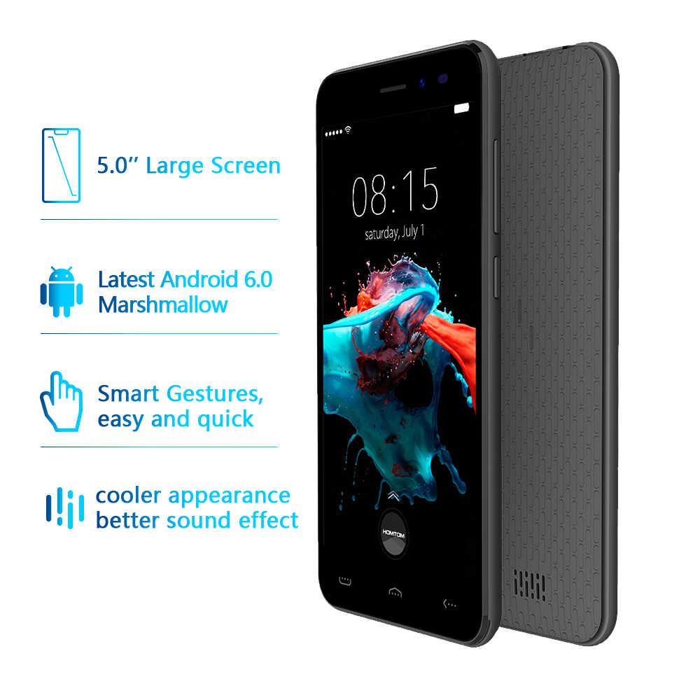 النسخة العالمية HOMTOM HT16 الروبوت 6.0 الهاتف الذكي رباعية النواة MTK6580 5.0 بوصة كامل شاشة الهاتف المحمول الذكية فتات هاتف محمول